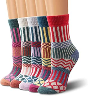 Winter Women Socks 5 Pairs Vintage Style Knit Wool Casual Socks Thick Warm Colorful Socks