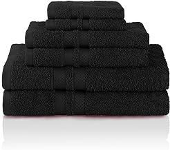 Superior Egyptian Cotton bath bathroom Towels, Washcloths, Hand, Black, 6 Piece