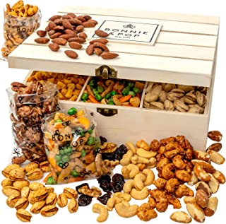Bonnie and Pop Deluxe Nut Crate | Gourmet Assorted Nuts in Reusable Wood Crate | Fathers Day Snack Gift Box, Variety Tray...
