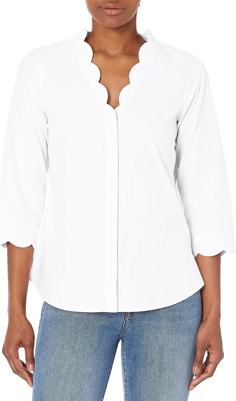 Foxcroft Women's Scallop Neck Non-Iron Ppo Shirt