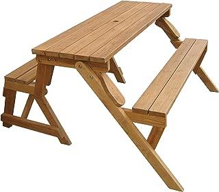 Merry Garden Interchangeable Wooden Picnic Garden Bench Outdoor Patio Dining Table, Natural
