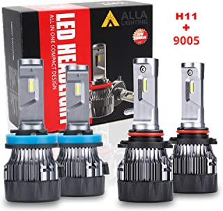 ALLA Lighting S-HCR HB3 9005 High Beam H9 H11 Low Beam LED Headlight Bulbs Combo Sets 10000Lms Extreme Super Bright 9005 H11 LED Headlight Bulbs Conversion Kits,  Xenon White (4 Packs,  2 Sets)