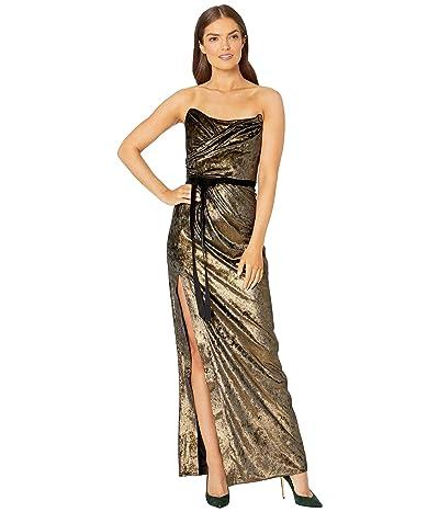 Marchesa Notte Strapless Foiled Velvet Gown with Draped Bodice, High Slit and Velvet Ribbon Waistband (Gold) Women