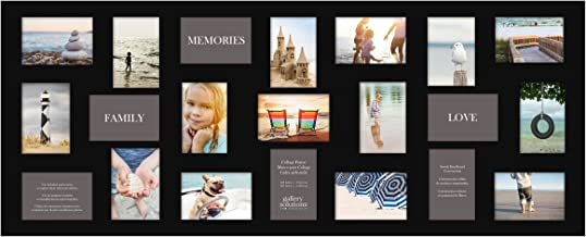 """Gallery Solutions 10FW149E 19"""" x 48"""" Wall Hanging Picture, Holds 21 Photos Collage Frame, 4"""" x 6"""", Black"""