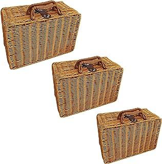 SUFUBAI Lot de 3 paniers de rangement en rotin, boîtes décoratives vintage, valise, panier de pique-nique en rotin avec po...