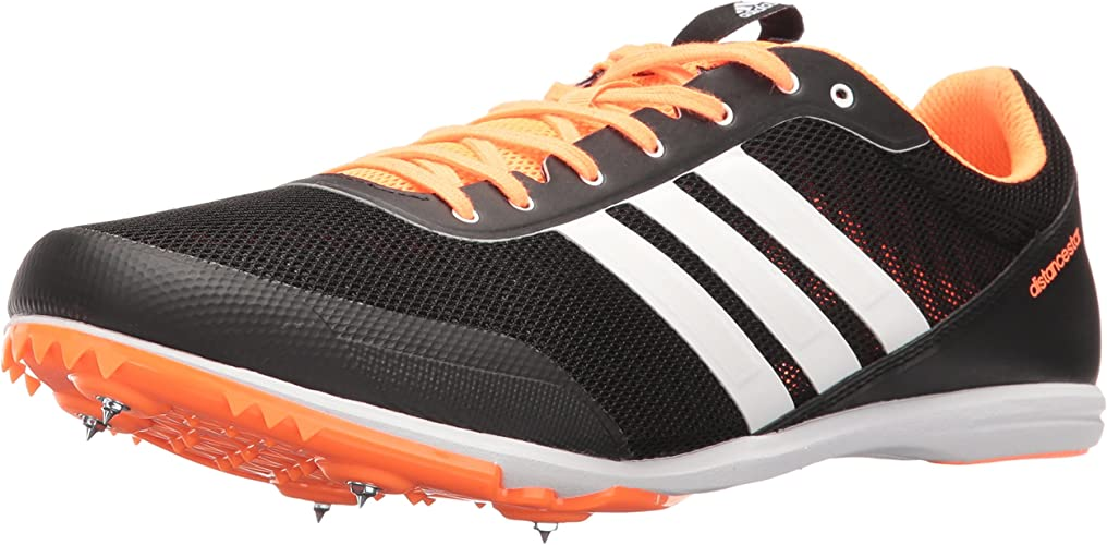 Adidas Men's Distancestar Track chaussures, noir blanc Glow Orange, 12.5 M US