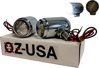 OZ-USA Chrome Cree Lights Motorcycle High Output LED Fog Running Cruiser Chopper Headlight 6000k MX 12 Volts