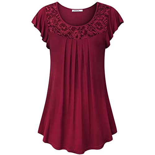 3e364cc69642c Youtalia Women's Summer Short Sleeve Scoop Neck Pleated Lace Casual Tunic  Tops