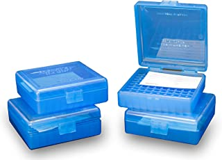 Barry's 4 Pack Ammo Box 22 LR 25 Auto Ammunition Storage Case Blue Holds 100 Rounds .22 Long Rifle .25 ACP