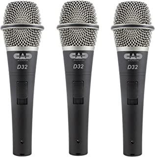 CAD Audio CADLive D32 Supercardioid Dynamic Microphone with Silent Magnetic On/Off Switch (3-Pack)