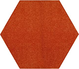 Ambiant Pet Friendly Solid Color Area Rug Orange -2' Hexagon