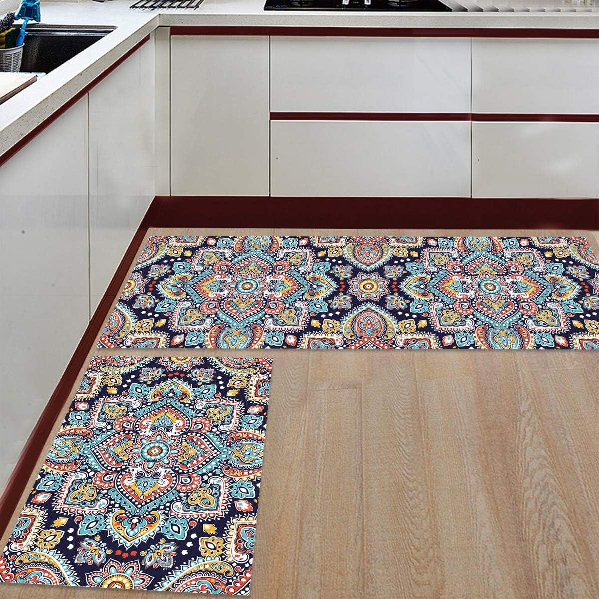 Floral half Kitchen Mat Cheap sale Set 2 Felt Water Absorbent Rugs Pcs