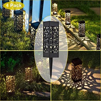 Kefflum 4x Lámpara solar LED para jardín, lámpara de jardín para ...