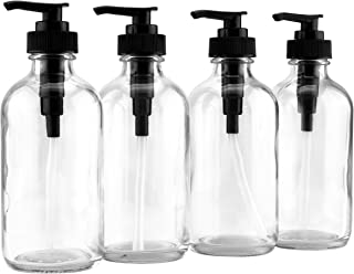 8-Ounce Clear Glass Pump Bottles (4-Pack w/Black Plastic Pumps), Great as Essential Oil Bottles, Lotion Bottles, Soap Dispensers, and More