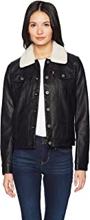 Levi's Classic Faux Leather Sherpa Collar Trucker Jacket