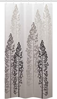 Ambesonne Country Stall Shower Curtain, Pine Trees in The Forest on Foggy Seem Ombre Backdrop Wildlife Adventure Artwork, Fabric Bathroom Decor Set with Hooks, 36