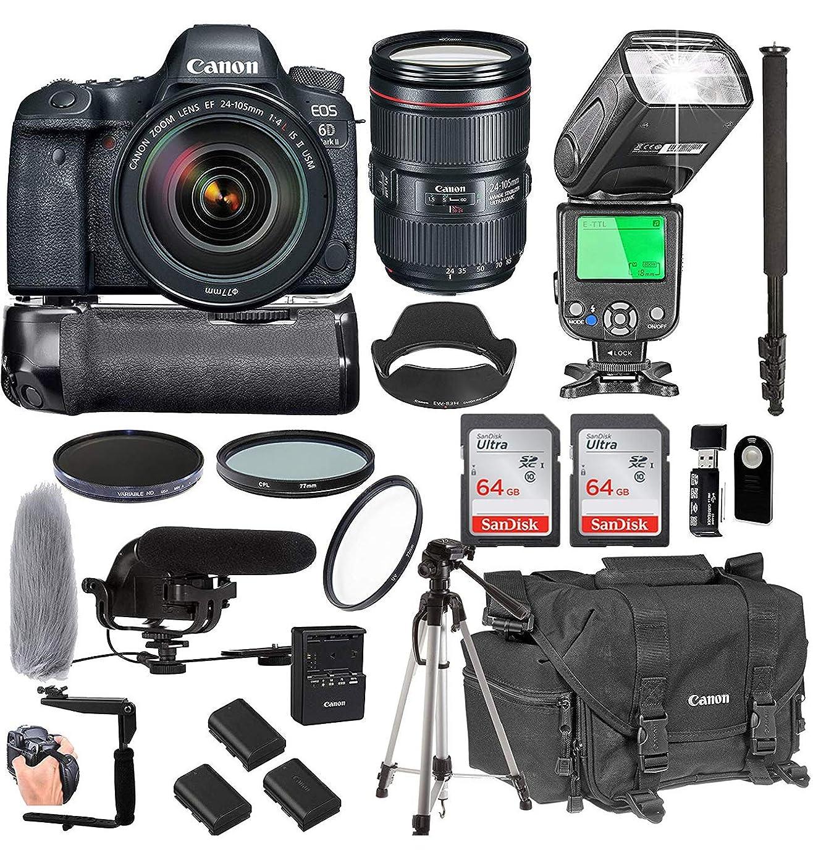 Canon EOS 6d MARK II with 24?–?105?mm f/3.5?4?L IS II USM 镜头 + 128?GB 内存 + Canon 豪华相机包 + PRO 电池套装 + POWER GRIP + 麦克风 + TTL 高速浅 + PRO 过滤器 ( 23件套装 )