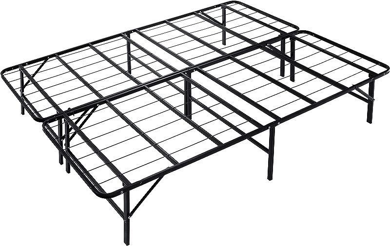 Naomi Home IdealBase 14 Platform Metal Bed Frame Mattress Foundation Box Spring Replacement Queen Black