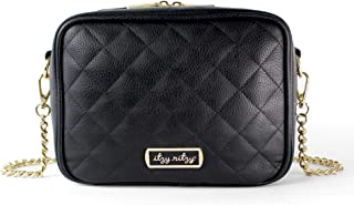 Itzy Ritzy Crossbody Diaper Bag – Chic Crossbody Bag Featuring 6 Pockets and 2 Separate Compartments; Includes Coordinating Changing Pad and Adjustable Shoulder Strap, Black