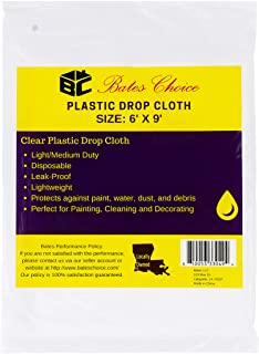 Bates- Plastic Drop Cloth, 2 Pack, 6x9 Feet, Plastic Cover, Clear Plastic Tarp, Plastic Tarp for Painting, Plastic Sheetin...