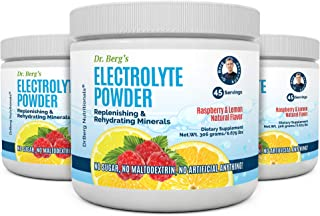 Dr. Berg`s Original Electrolyte Powder, High Energy, Replenish & Rejuvenate Your Cells, 45 Servings, NO Maltodextrin or Sugar, No Ingredients from China, Amazing Raspberry Lemon Flavor (3 Pack)