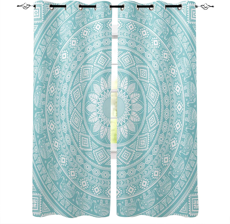 Blackout shipfree Curtains for Bedroom Aqua Mandala Sale Floral Pattern Blue