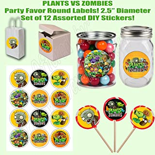 """Plants vs Zombies, Large 2.5"""" Round Circle Stickers to place onto Party Favor Bags, Cards, Boxes or Containers -12 pcs, Video Game"""