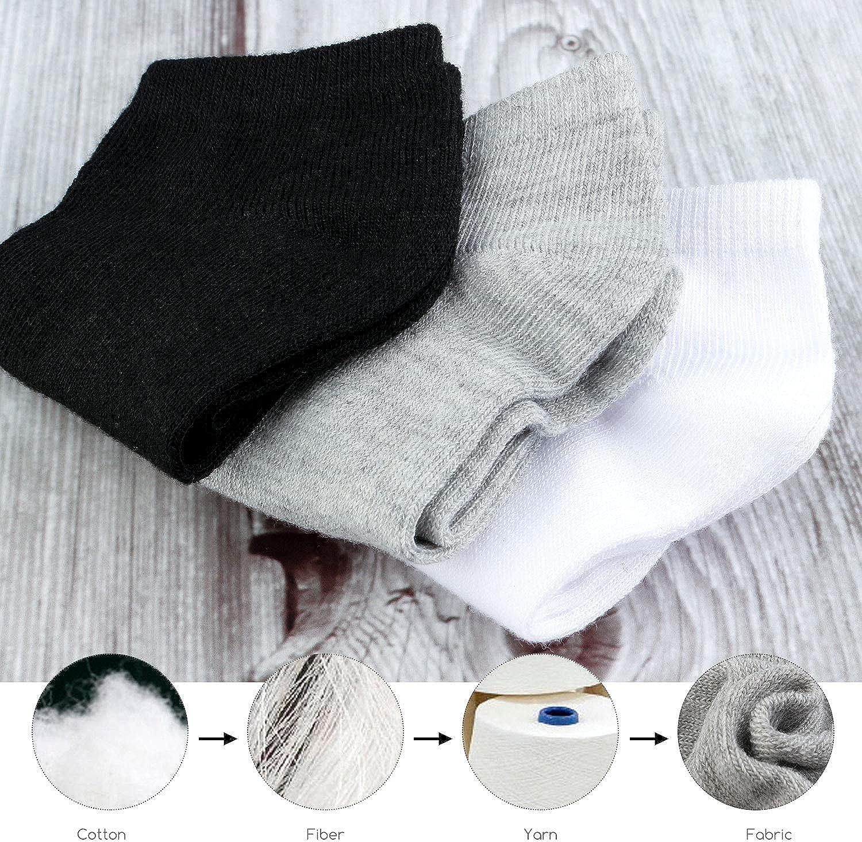 BOOPH 15 Pcs Kids Socks for Boys Girls Half Cushion Low Cut Athletic Ankle Socks