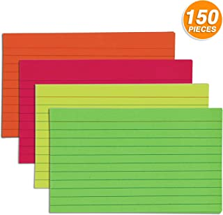 """Emraw 150ct. Ruled Fluorescent Colored Index Card 3""""x5"""" – In Blue, Red, Orange, Yellow & Green"""