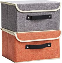 Jane's Home Storage Bins Boxes Set Linen Collapsible Cube Set Organizer Basket with Lid & Handle, Foldable Fabric Containe...