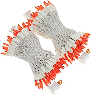 200 Orange String Lights, White Cord Outdoor Lights String 66 Ft, Pack of 2 Sets 100 Lit, UL Certified Commercial Grade Mini Lights Set, for Halloween Party, Garden, Patio, Trees