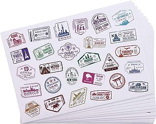 Bright Creations - Pegatinas de viaje, sellos decorativos, pegatinas de sellado en 4 diseños - 810 unidades - Vinilo blanco PVC