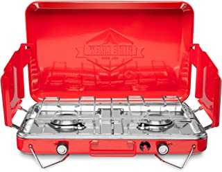 Hike Crew Gas Camping Stove | 20,000 BTU Portable Propane 2 Burner Stovetop | Integrated Igniter & Stainless Steel Drip Tr...