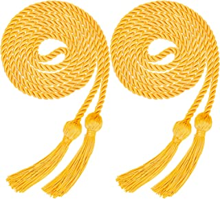 Yaomiao 2 Pieces Graduation Cords Polyester Yarn Honor Cord with Tassel for Graduation Students (Gold)