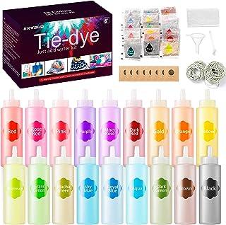 Tie Dye Kit, 18 Couleurs Vives 210pcs - Peintures Pour Textiles et Tissu Permanent, Non Toxique DIY Graffiti Dye mit Poudr...