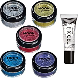 Fine Glitter Shakers by Moon Glitter – 100% Cosmetic Glitter for Face, Body, Nails, Hair and Lips - 0.17oz - Set of 5 colours