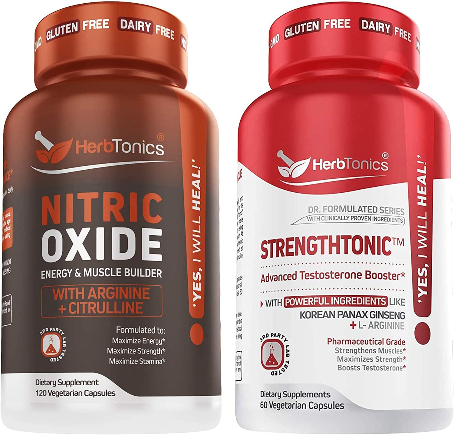 Sale item Herbtonics Nitric Oxide and Testosterone Max 51% OFF Strengthtonic Booster f
