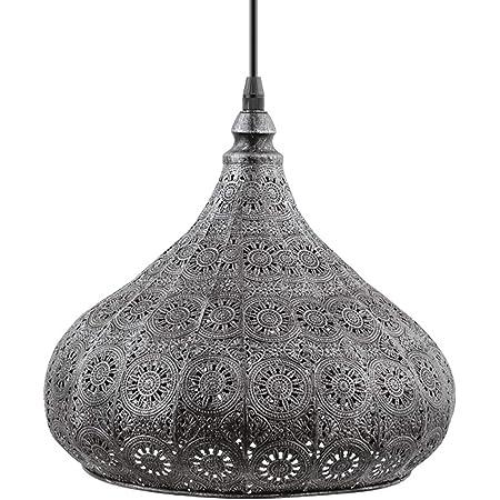 Eglo Lampe Suspension Melilla, 1 Lampe Suspendue Vintage Orientale Marocaine en Acier Antique, Lampe de Table à Manger, Lampe de Salon Suspendue avec Douille E27 Ø 28,5 cm