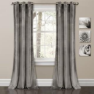 "Lush Decor Prima Velvet Curtains Color Block Room Darkening Window Panel Set for Living, Dining, Bedroom (Pair), 84"" L, Gray"