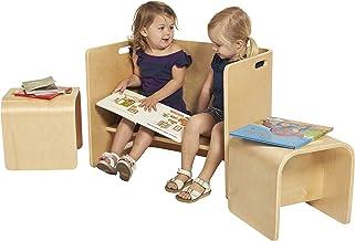 ECR4Kids Natural Bentwood Multipurpose Kids Wooden Chair Set (3-Piece) TABLE