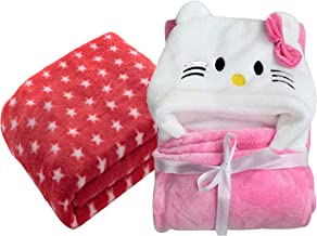 My Newborn Combo Baby Blanket and Polka Wrapper, Red Spread Katty (Pack of 2)