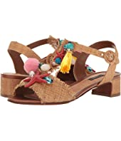 Raffia T-Strap Sandal with Shells 30mm
