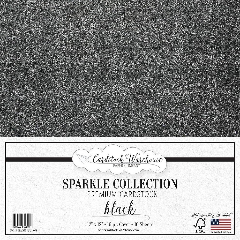 MirriSparkle Black Glitter Cardstock Paper 12
