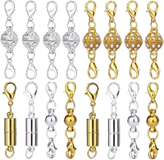 Aiskaer 16 Pcs Magnetic Lobster Clasps for Jewelry Necklace Bracelet Rhinestone Ball Style Cylindrical and Ball Tone Lobster Clasp (16PCS)