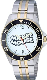 Disney Men's Mickey Mouse Analog-Quartz Watch with Stainless-Steel Strap, Two Tone, 20.5 (Model: WDS000695