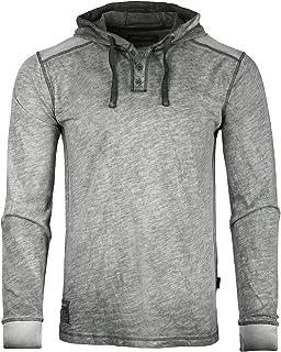 ZIMEGO Long Sleeve Vintage Garment Dyed Lightweight Fashion Hooded Henley