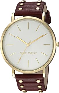 Nine West Round Goldtone Stud Strap Watch