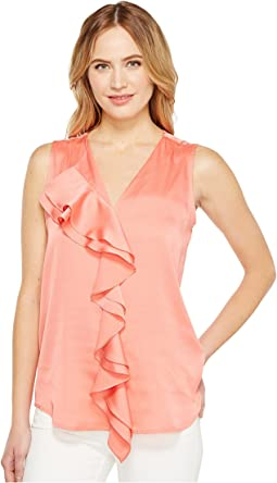 Sleeveless Top with Ruffle Front Blouse