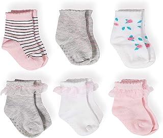 6 – 12 meses Roses algodón peinado calcetines de bebé – 6 unidades