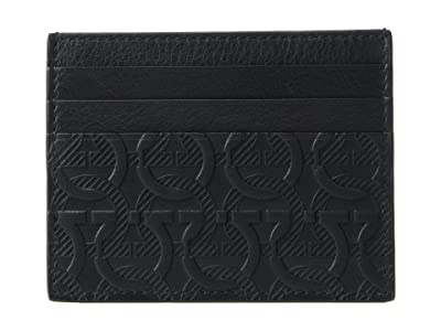 Salvatore Ferragamo Travel Embossed Card Holder 66A645 (Black) Wallet Handbags